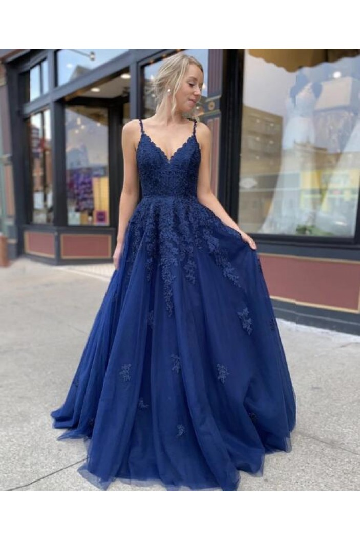 A-Line Spaghetti Straps Lace V-Neck Long Prom Dresses Formal Evening Gowns 601831