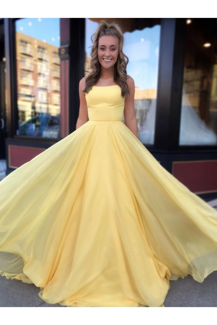 A-Line Spaghetti Straps Long Yellow Prom Dresses Formal Evening Gowns 601833