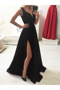 A-Line Long Red V-Neck Prom Dresses Formal Evening Gowns 601836