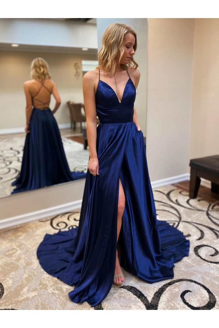 A-Line Spaghetti Straps V-Neck Long Prom Dresses Formal Evening Gowns 601839