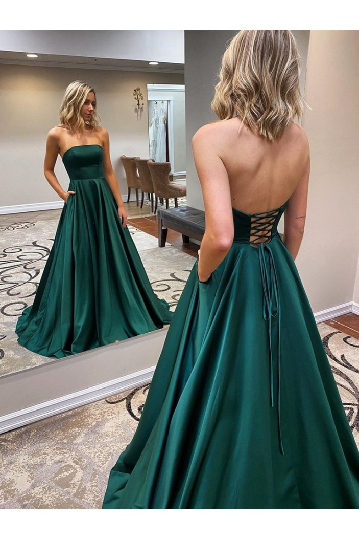 A-Line Strapless Long Prom Dresses Formal Evening Gowns 601840
