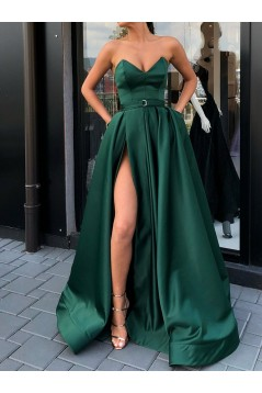 A-Line Long Prom Dresses Formal Evening Gowns with Pockets 601841