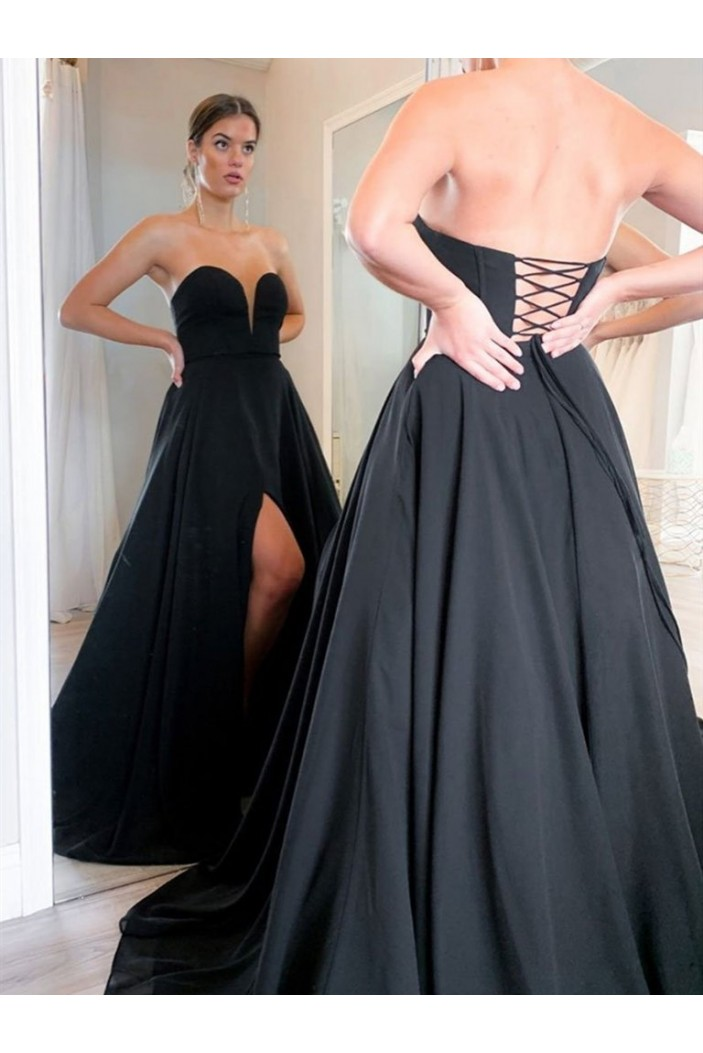 A-Line Sweetheart Long Black Prom Dresses Formal Evening Gowns 601845