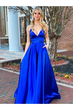 A-Line Spaghetti Straps V-Neck Long Prom Dresses Formal Evening Gowns with Pockets 601846