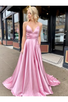 A-Line Spaghetti Straps V-Neck Long Prom Dresses Formal Evening Gowns with Pockets 601847