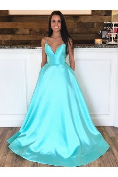 A-Line Spaghetti Straps V-Neck Long Prom Dresses Formal Evening Gowns with Pockets 601848