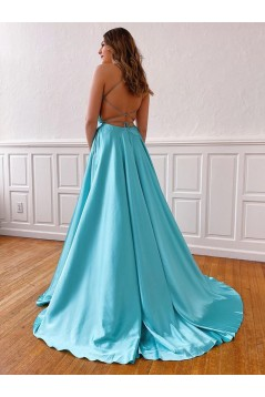 A-Line Spaghetti Straps V-Neck Long Prom Dresses Formal Evening Gowns with Pockets 601849