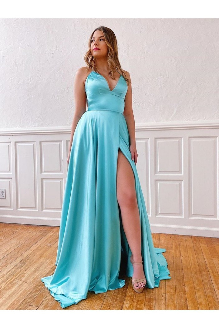 A-Line Spaghetti Straps V-Neck Long Prom Dresses Formal Evening Gowns with Pockets 601850