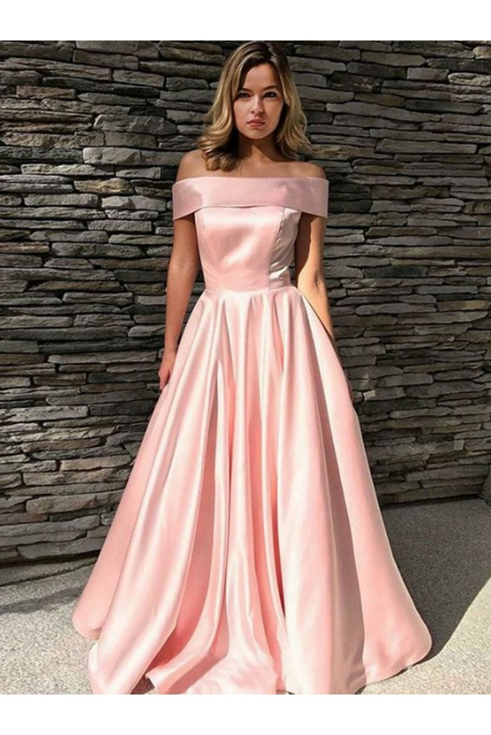 A-Line Off-the-Shoulder Long Prom Dresses Formal Evening Gowns 601851