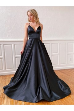 A-Line Spaghetti Straps V-Neck Long Black Prom Dresses Formal Evening Gowns 601852