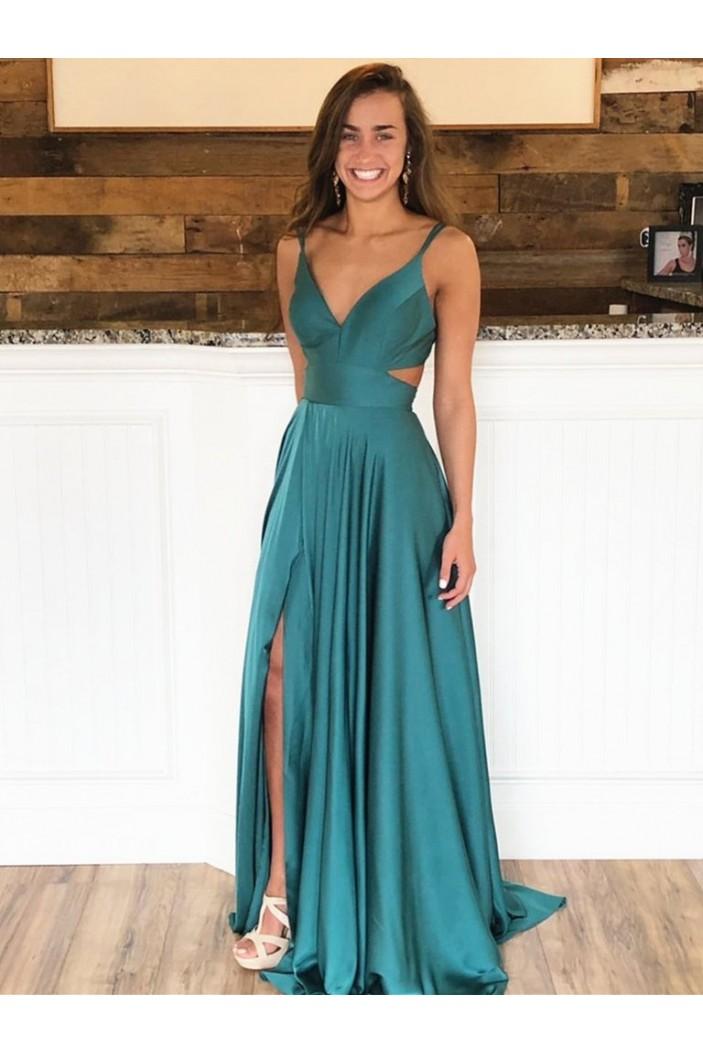 A-Line V-Neck Long Prom Dresses Formal Evening Gowns 601853
