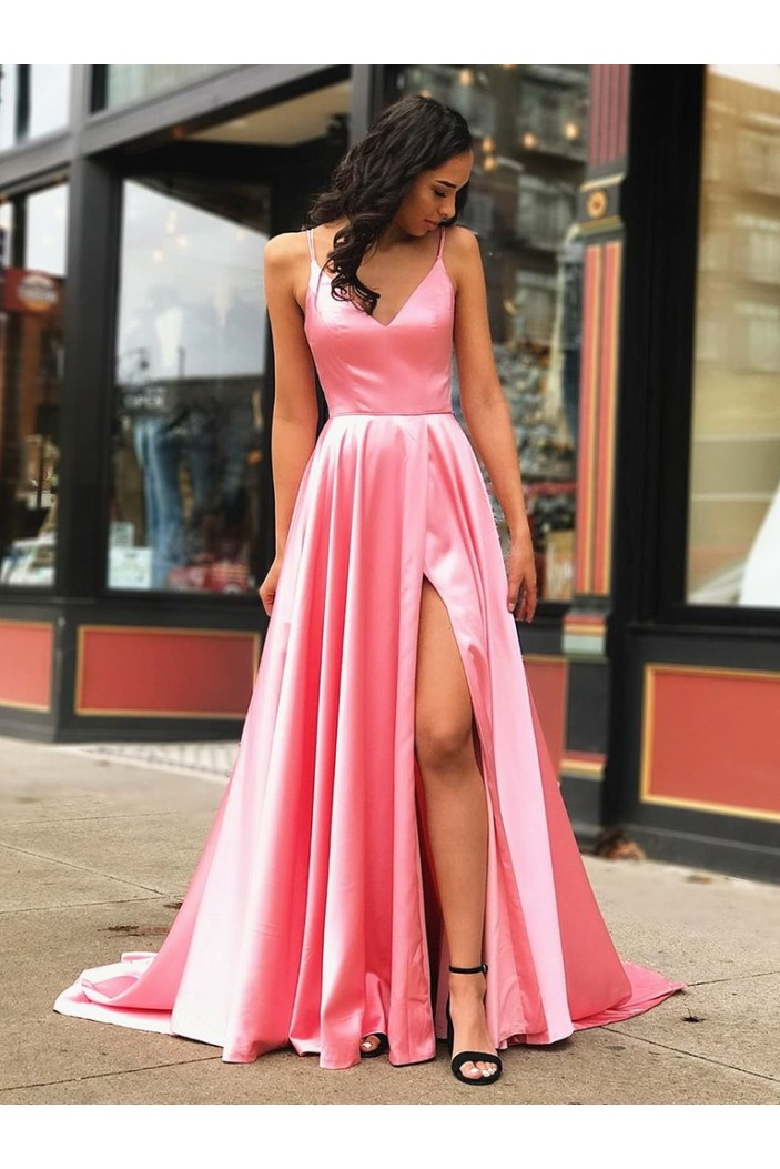 A-Line Spaghetti Straps V-Neck Long Prom Dresses Formal Evening Gowns 601854