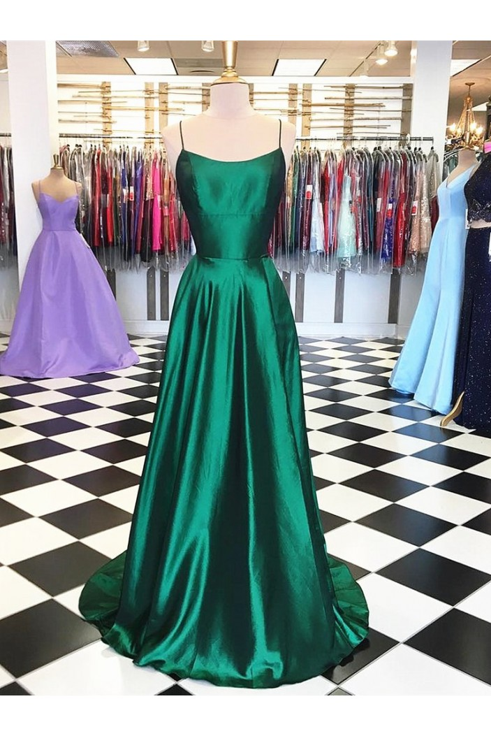 A-Line Spaghetti Straps Long Prom Dresses Formal Evening Gowns 601855