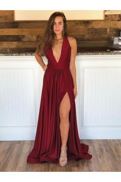 A-Line Deep V-Neck Long Prom Dresses Formal Evening Gowns with Side Slit 601856