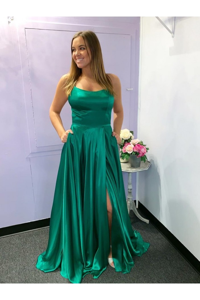 A-Line Spaghetti Straps Long Green Prom Dresses Formal Evening Gowns 601857