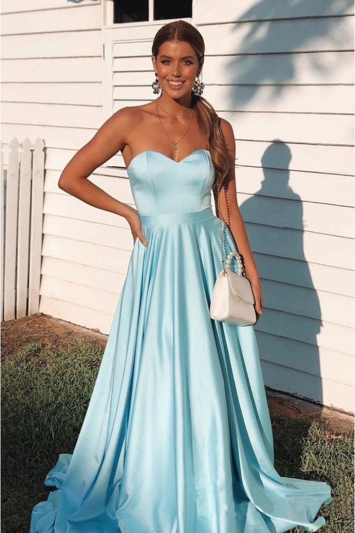 A-Line Sweetheart Long Prom Dresses Formal Evening Gowns 601858