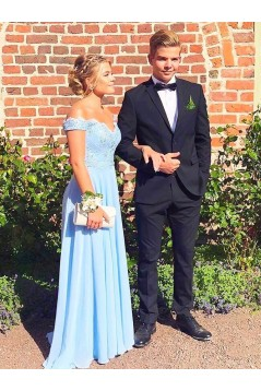 A-Line Lace Off-the-Shoulder Long Prom Dresses Formal Evening Gowns 601859