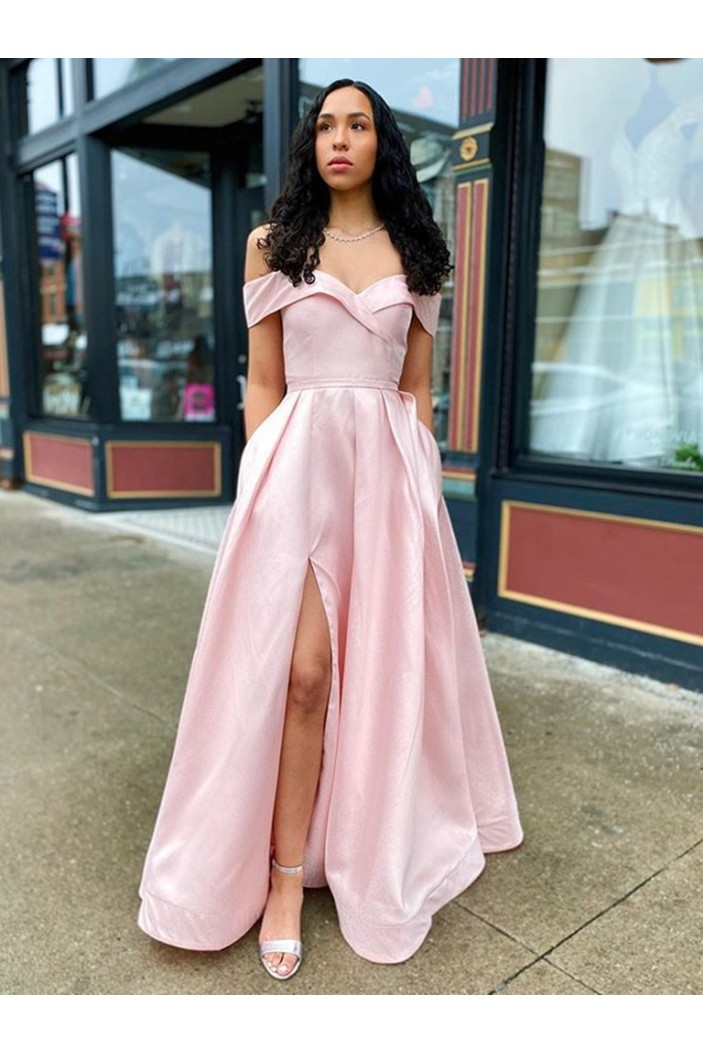 A-Line Off-the-Shoulder Long Prom Dresses Formal Evening Gowns with Pockets 601860