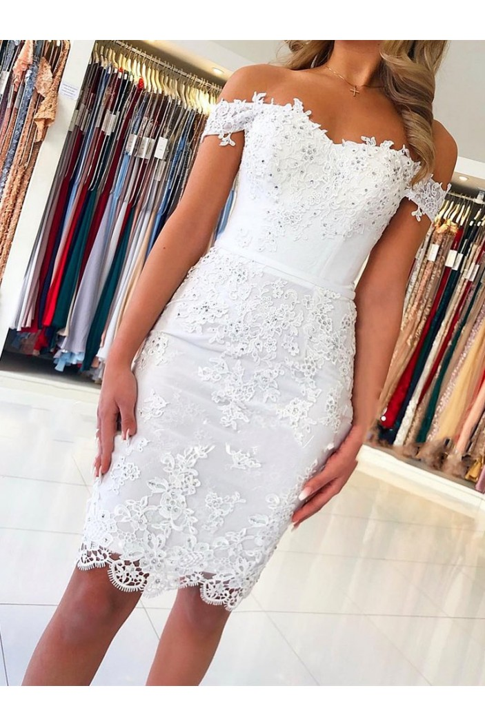Elegant Short Off-the-Shoulder Formal Evening Gowns with Lace Appliques Mother of The Bride Dresses 601863