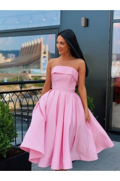 A-Line Strapless Short Prom Dresses Formal Evening Gowns 601866