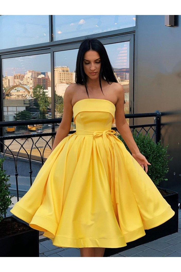 A-Line Strapless Short Prom Dresses Formal Evening Gowns 601867