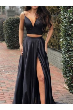 A-Line Two Pieces Simple Stunning Long Prom Dresses Formal Evening Gowns 601870