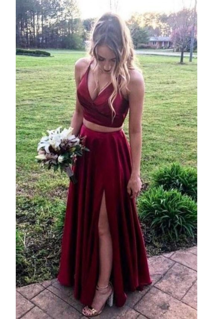 A-Line Two Pieces Simple Stunning Long Prom Dresses Formal Evening Gowns 601871
