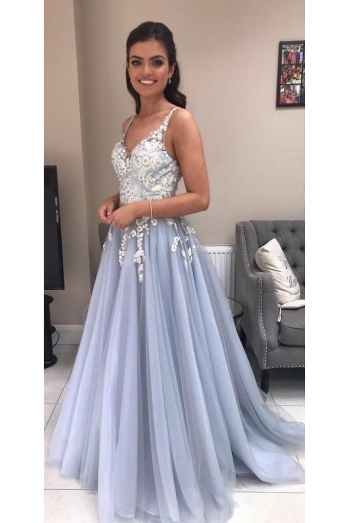 Elegant A-Line Tulle Long Prom Dresses Formal Evening Gowns 601872
