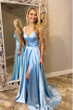A-Line V-Neck Simple Stunning Long Prom Dresses Formal Evening Gowns 601874