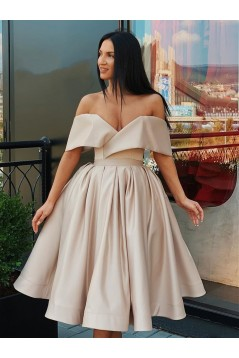 A-Line Off-the-Shoulder Simple Prom Dresses Formal Evening Gowns 601876