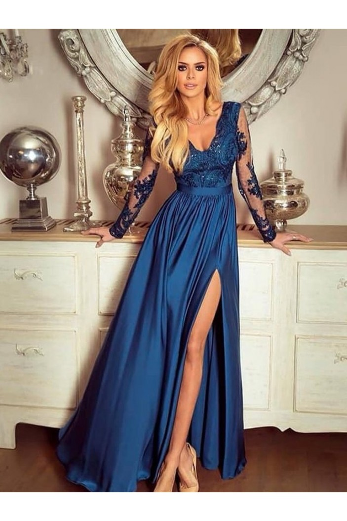 A-Line Long Sleeves Lace V-Neck Long Prom Dresses Formal Evening Gowns 601877
