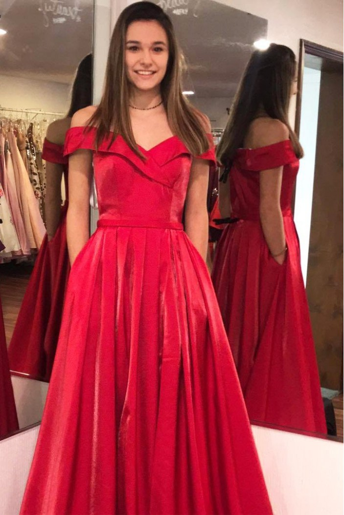 A-Line Off-the-Shoulder Long Prom Dresses Formal Evening Gowns With Pockets 601879