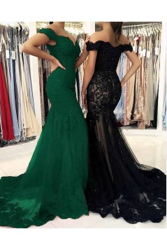 Mermaid Off-the-Shoulder Lace Long Prom Dresses Formal Evening Gowns 601880