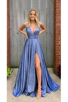 A-Line V-Neck Long Prom Dresses Formal Evening Gowns 601881