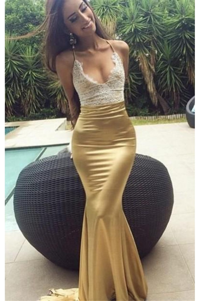 Mermaid Lace Long Prom Dresses Formal Evening Gowns 601882