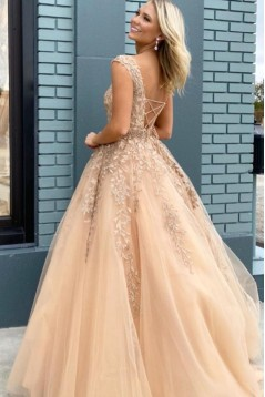 Elegant Lace Long Prom Dresses Formal Evening Gowns 601885