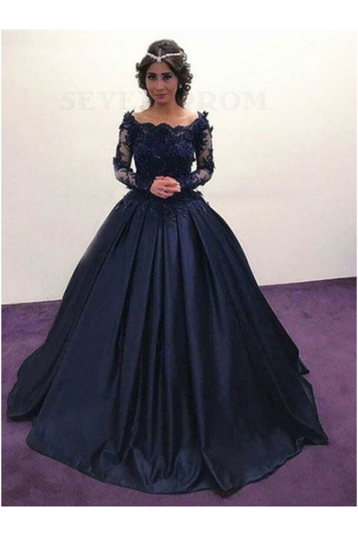 Ball Gown Lace Long Sleeves Prom Dresses Formal Evening Gowns 601886