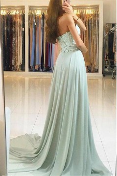 A-Line Lace Chiffon Sweetheart Long Prom Dresses Formal Evening Gowns 601887