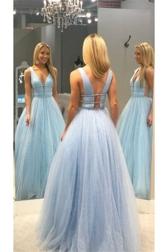 A-Line Tulle V-Neck Long Prom Dresses Formal Evening Gowns 601890