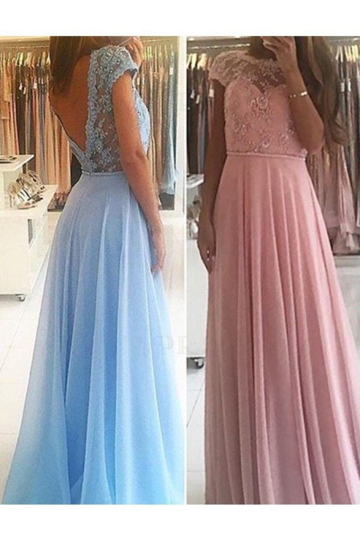 A-Line Beaded Lace Long Prom Dresses Formal Evening Gowns 601891