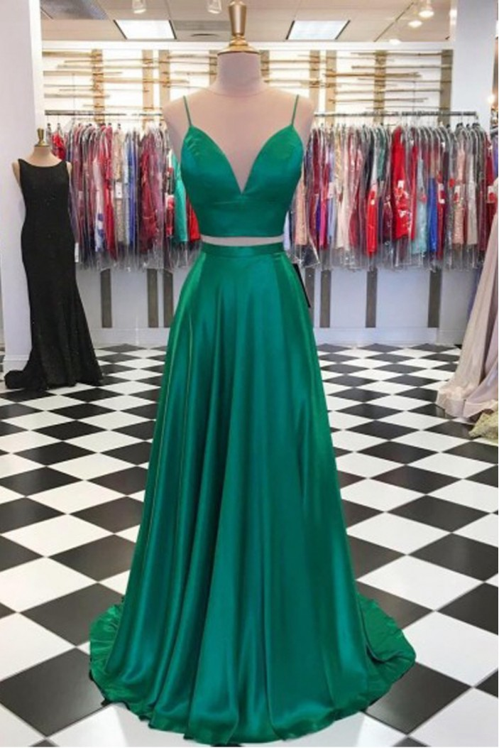A-Line Two Pieces Green Long Prom Dresses Formal Evening Gowns 601892