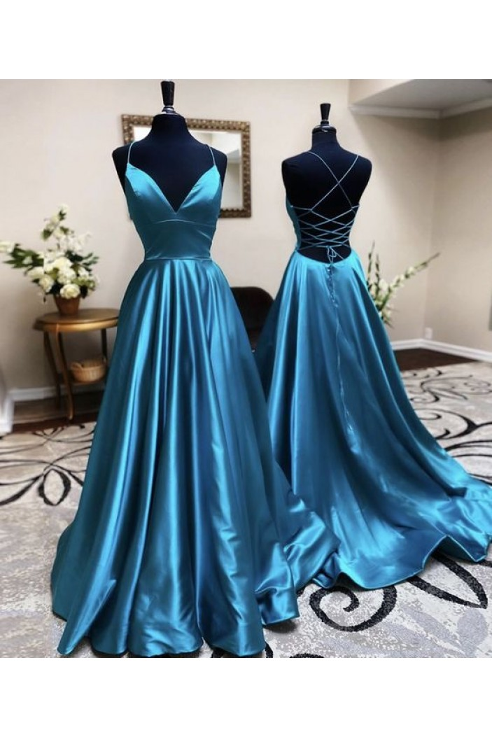A-Line V-Neck Long Prom Dresses Formal Evening Gowns 601894