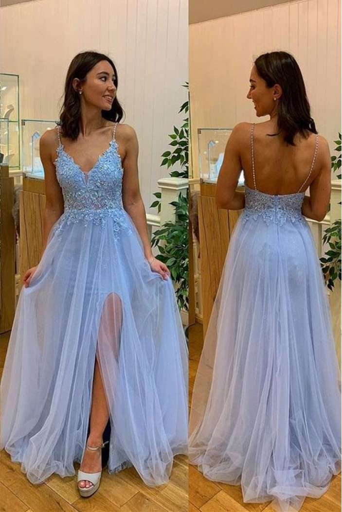 A-Line Lace Tulle V-Neck Long Prom Dresses Formal Evening Gowns 601895