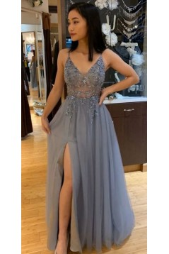 A-Line Beaded Long Prom Dresses Formal Evening Gowns 601898