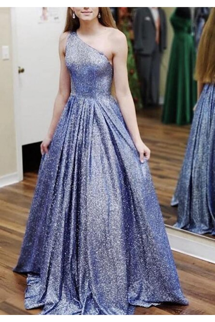 A-Line One Shoulder Long Prom Dresses Formal Evening Gowns 601899