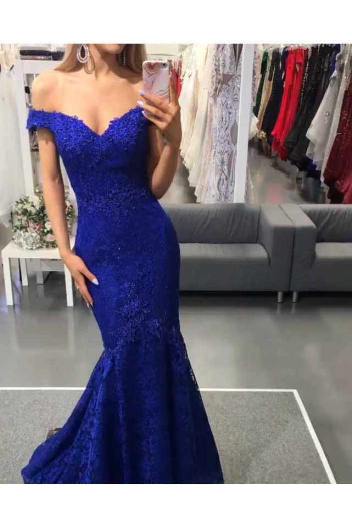 Mermaid Off-the-Shoulder Lace Long Prom Dresses Formal Evening Gowns 601901