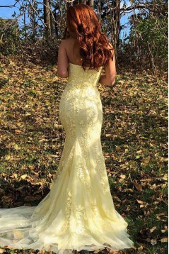 Mermaid Strapless Lace Long Prom Dresses Formal Evening Gowns 601903