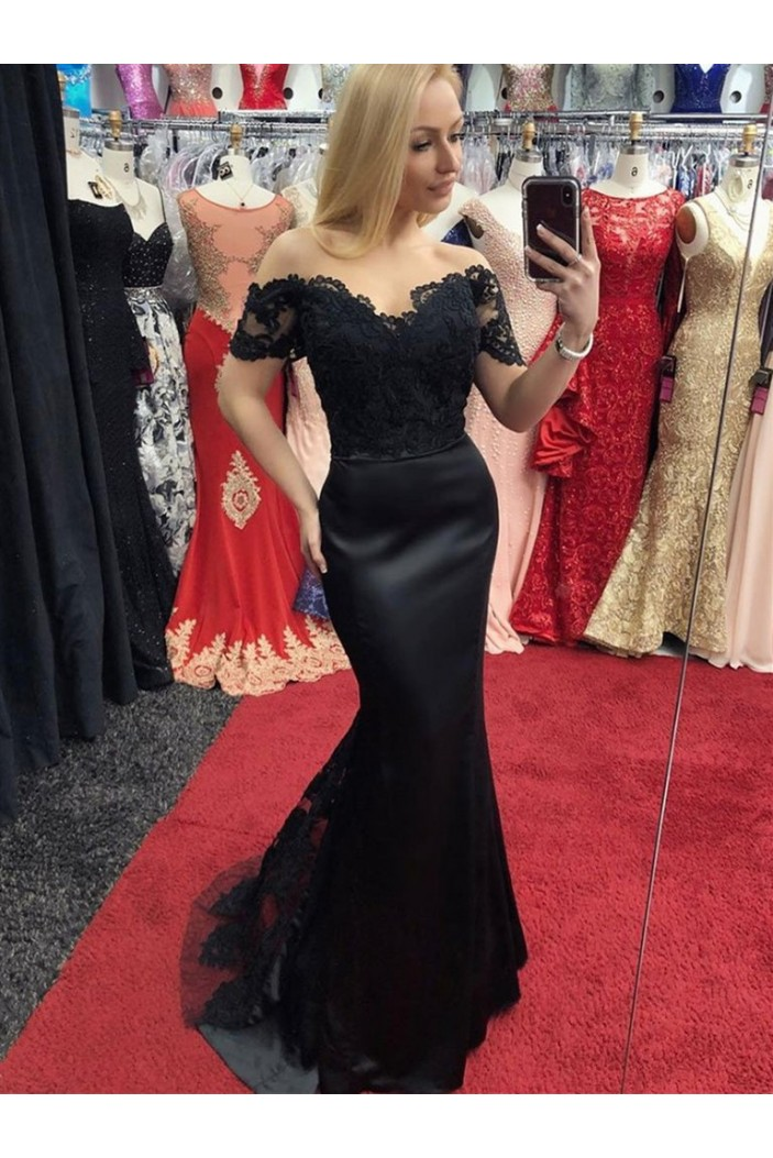 Mermaid Lace Off-the-Shoulder Long Black Prom Dresses Formal Evening Gowns 601905