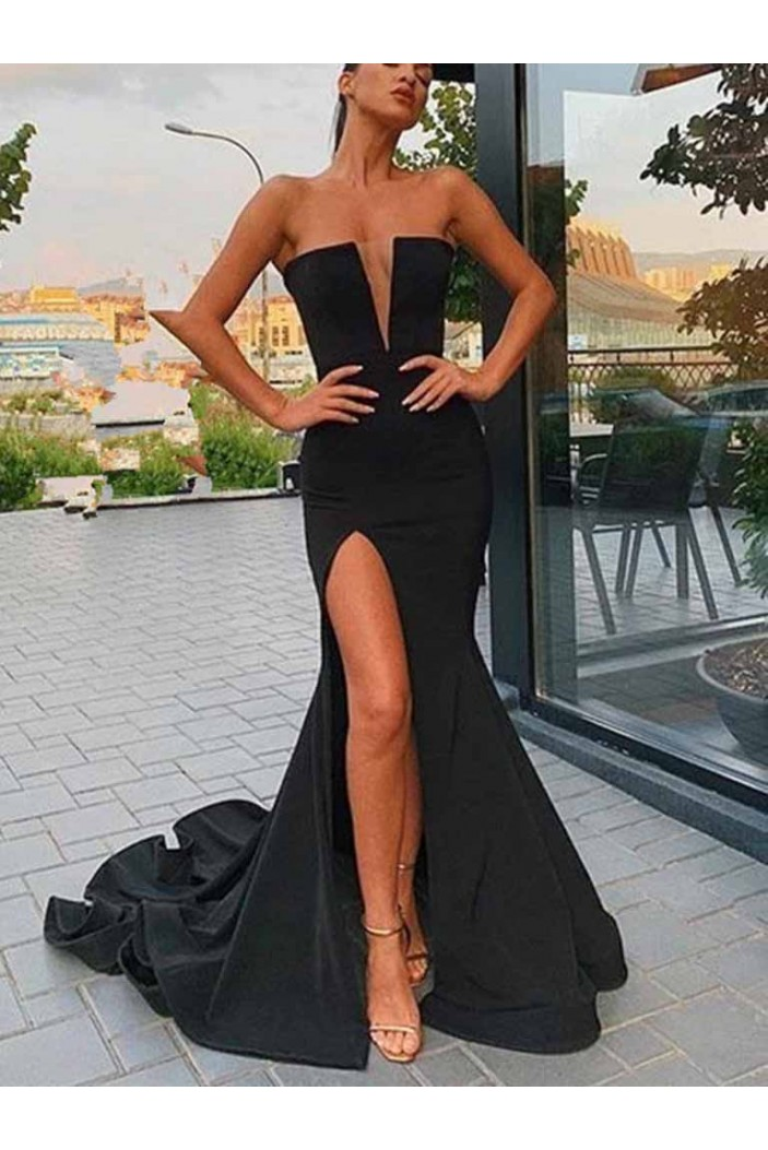 Mermaid Long Black Prom Dresses Formal Evening Gowns 601910