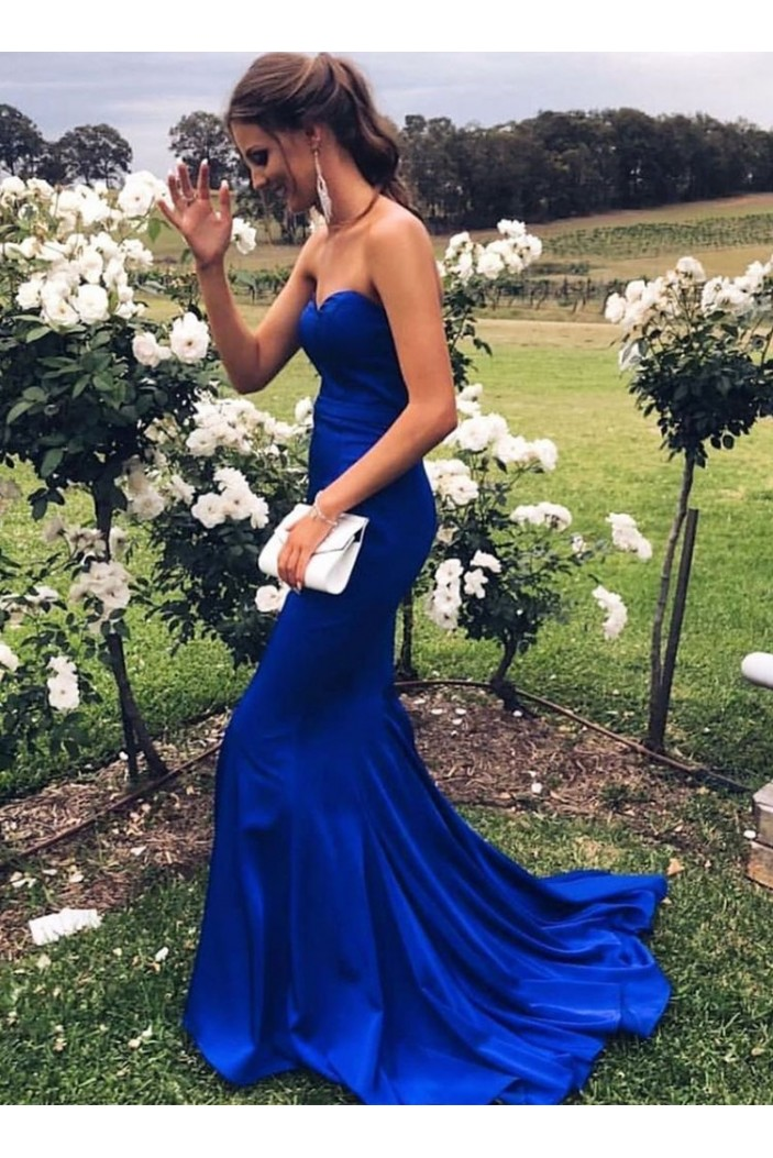 Mermaid Sweetheart Long Royal Blue Prom Dresses Formal Evening Gowns 601911